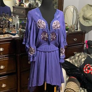 Free People Embroidery Blue Dress